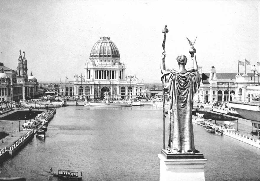 Looking West From Peristyle, Court of Honor and Grand Basin of the 1893 World's Columbian Exposition (Chicago, Illinois)