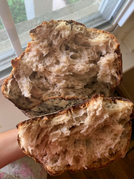 Two open halves of bread, showing the torn crumb.