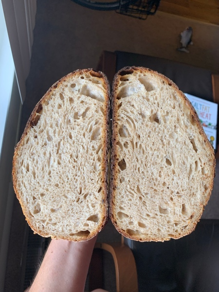 two halves of bread, showing crumb