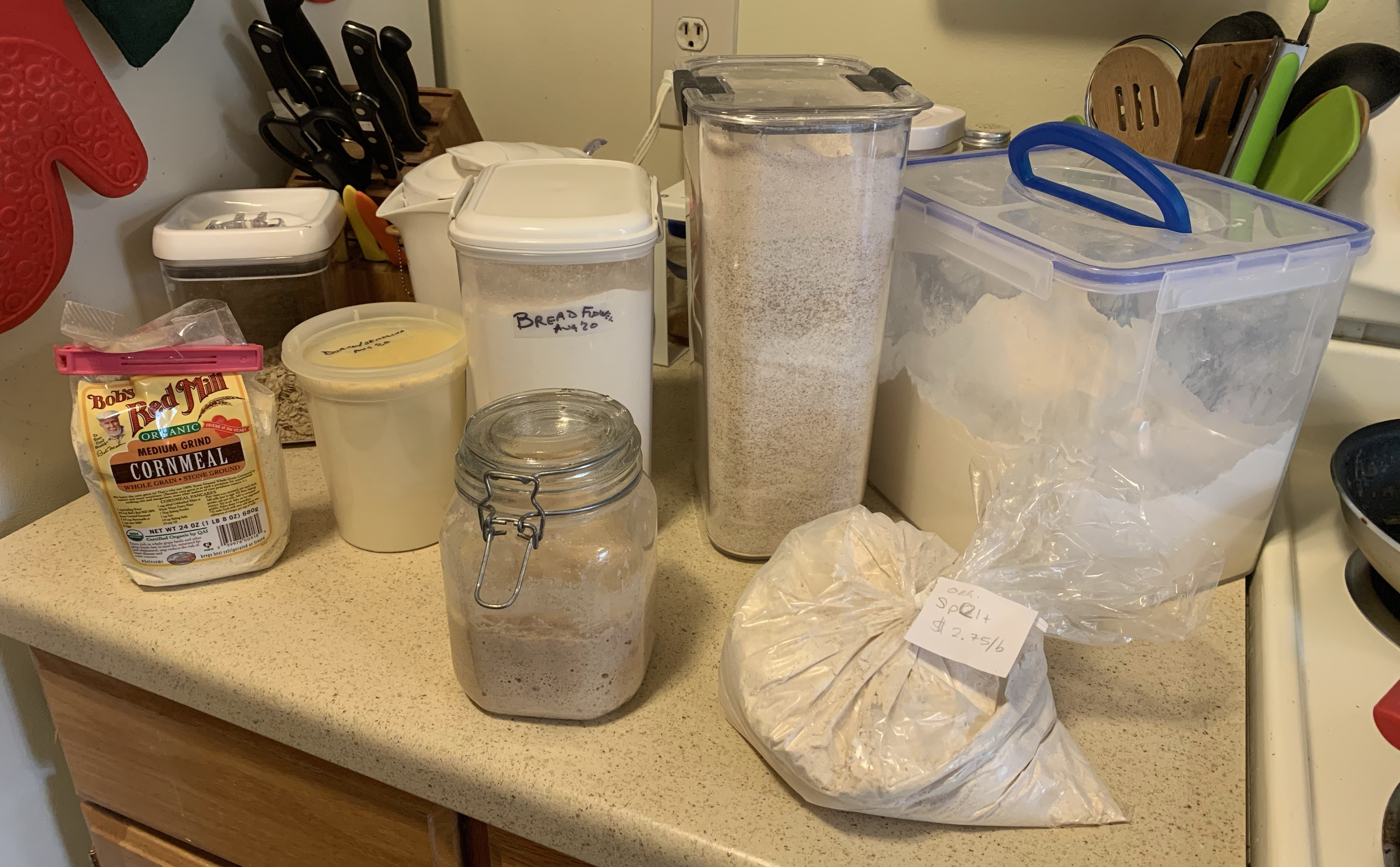 Counter with containers of cornmeal, semolina flour, bread flour, whole-wheat flour, all-purpose flour, a jar of sourdough starter, and spelt flour.