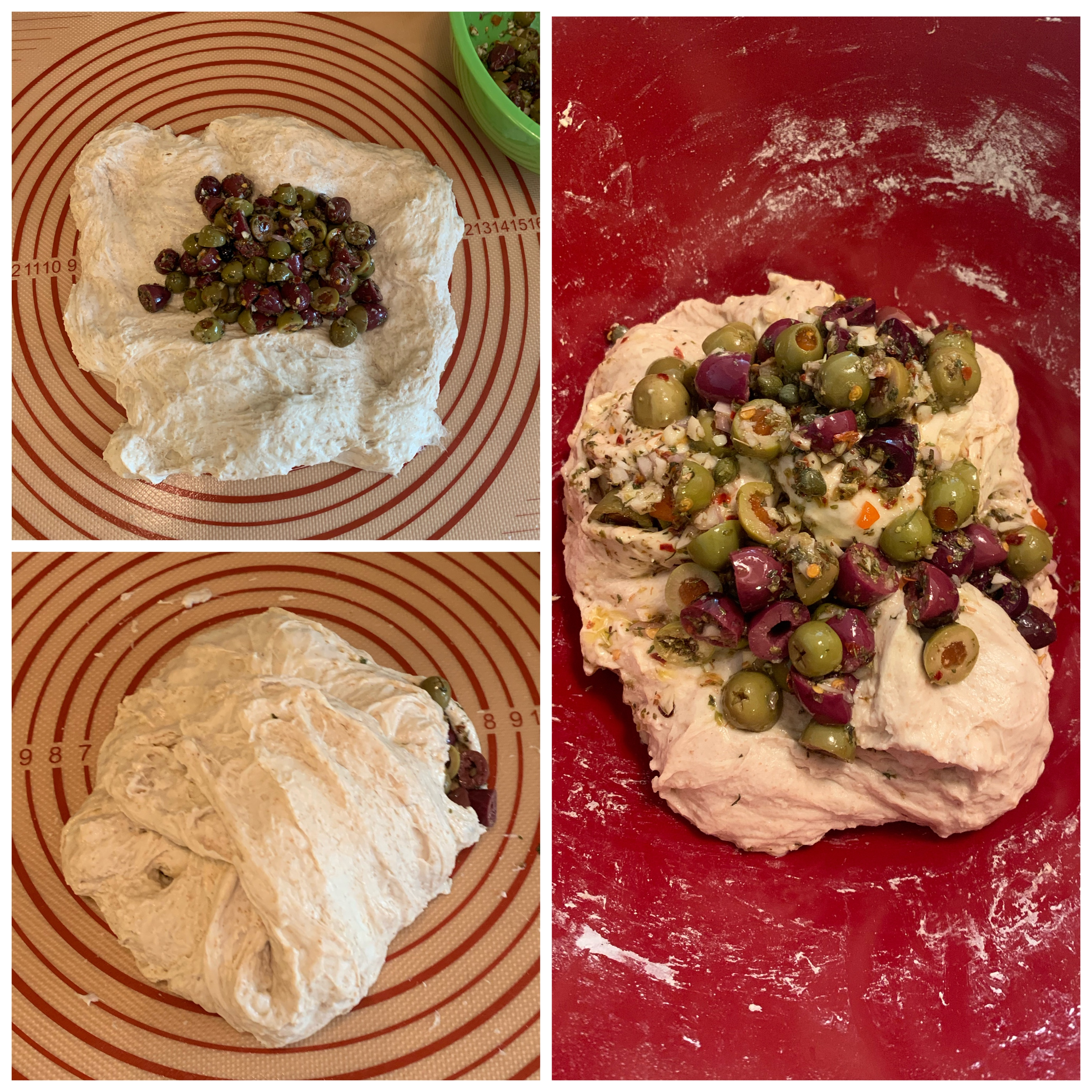 Three images in one block. Top left is dough flattened out with olive salad on top. Bottom left is the same dough folded over the salad. Right is the worked dough with excess olive salad piled on top.
