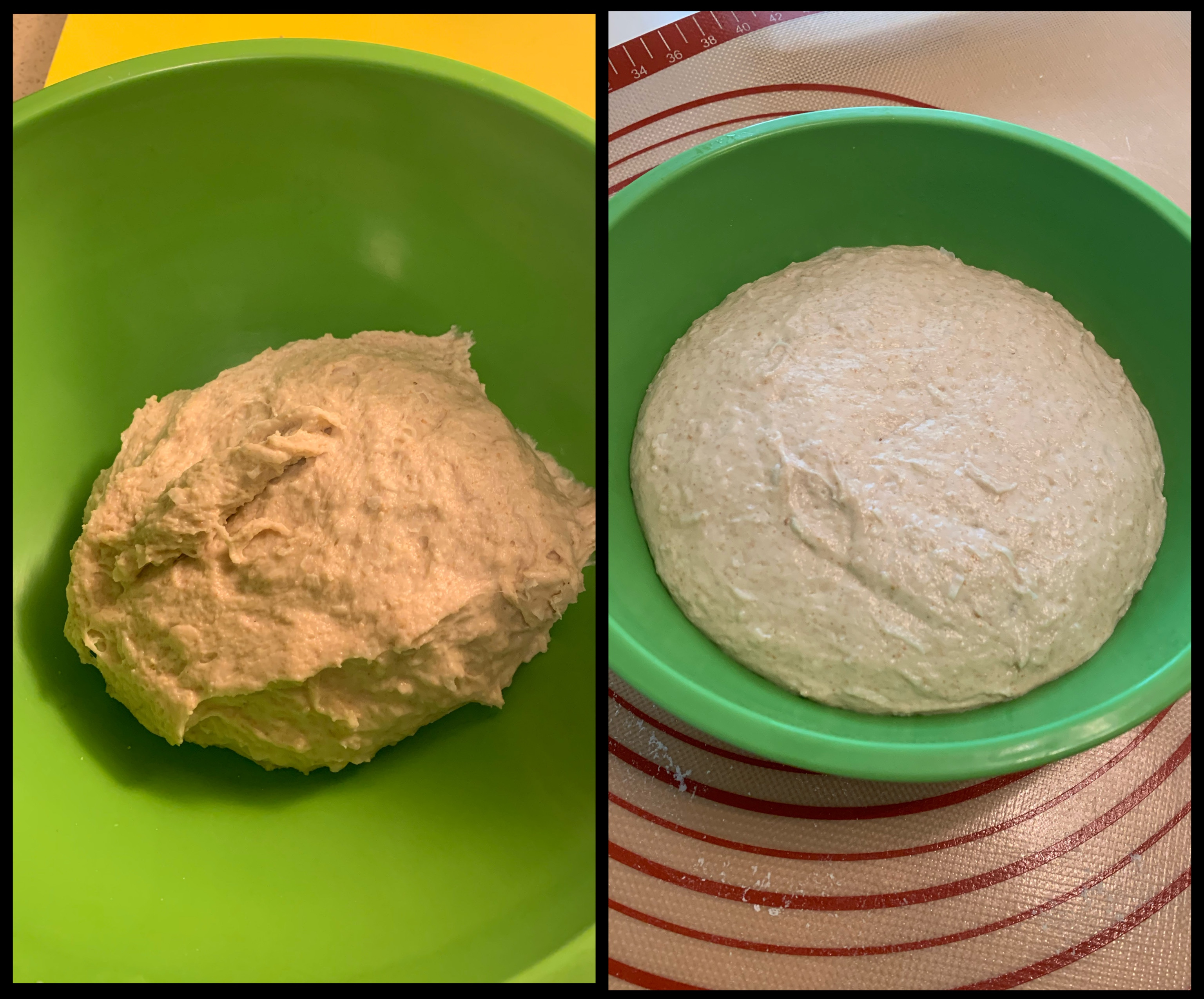 Left: kneaded dough in green bowl. Right: dough filling green bowl after bulk fermentation.