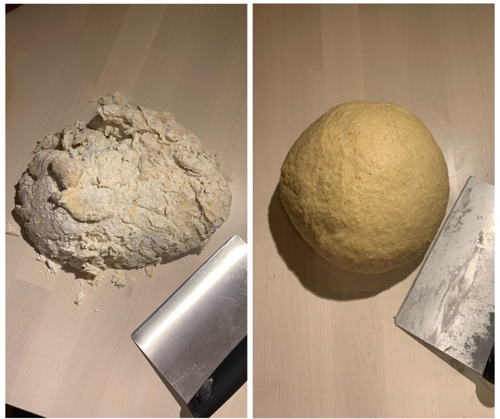 Left: wooden table with mound of shaggy dough and clean bench scraper. Right: same table with smooth ball of yellow dough and dirty bench scraper.