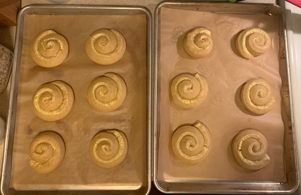 Two trays of six mallorca coils each, after proofing. They had spread out, and the strips of butter and sugar are yellow and crackled.
