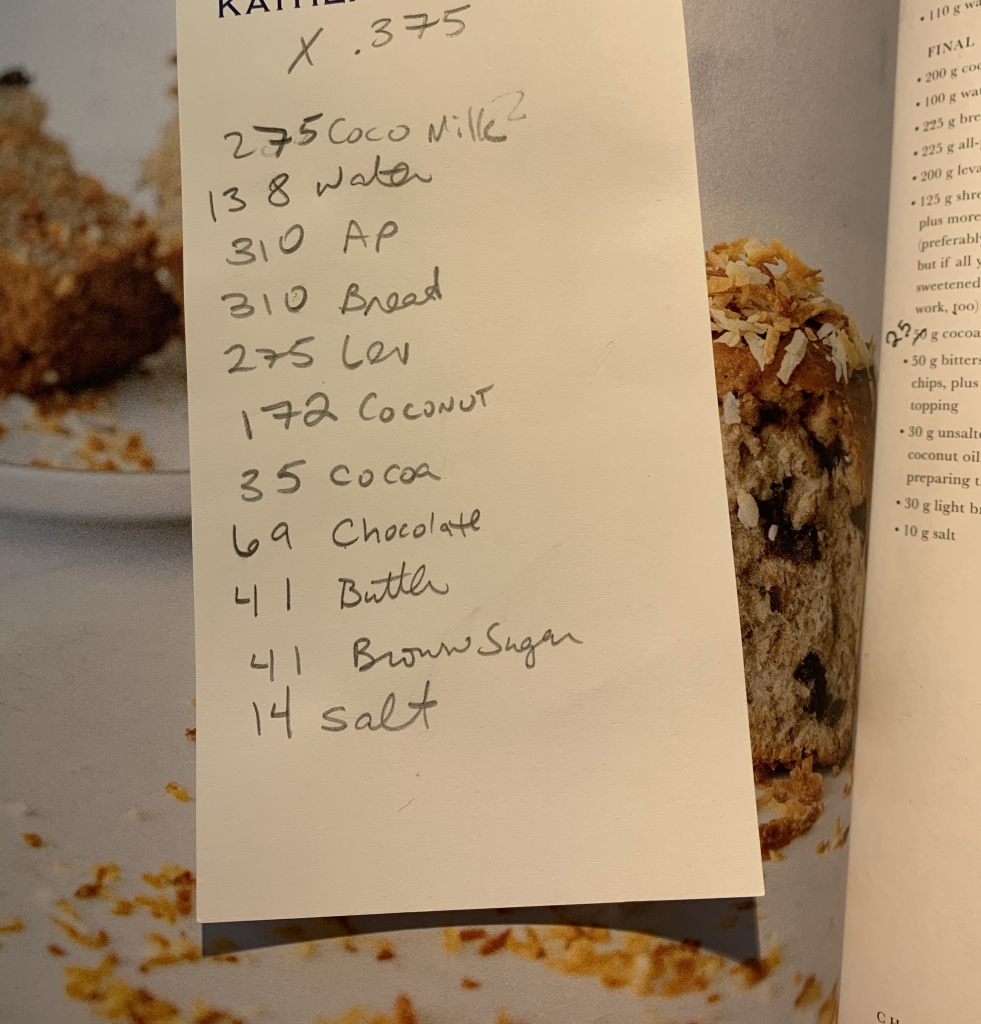 """handwritten list of ingredient weights, with the figure """"x.75"""" at the top"""