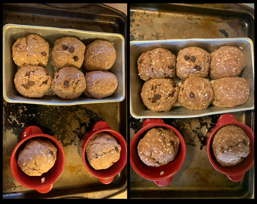 Side by side images of the same thing, three hours apart. A tin with six balls of dough, and two red ramekins with a ball of dough each.