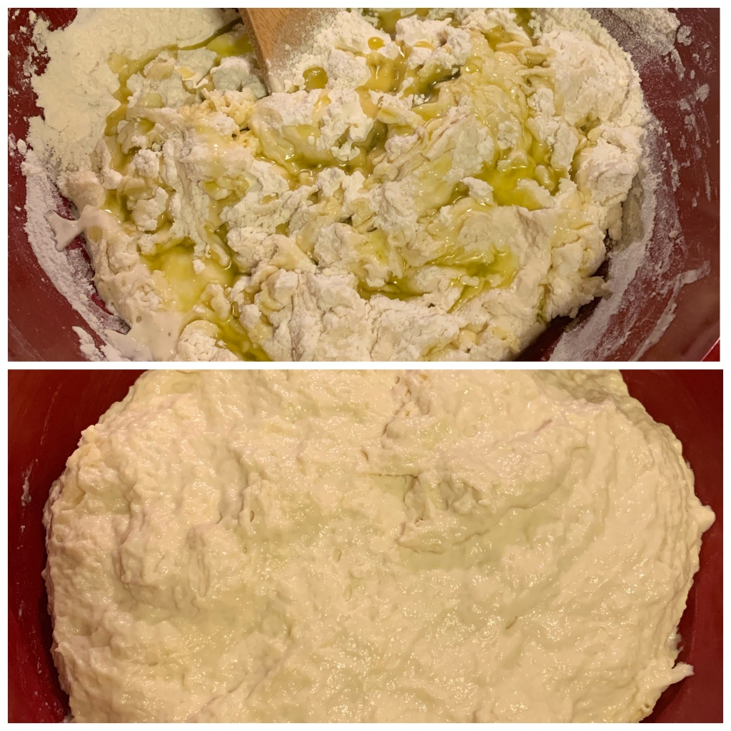 Top: mixed ingredients covered in olive oil