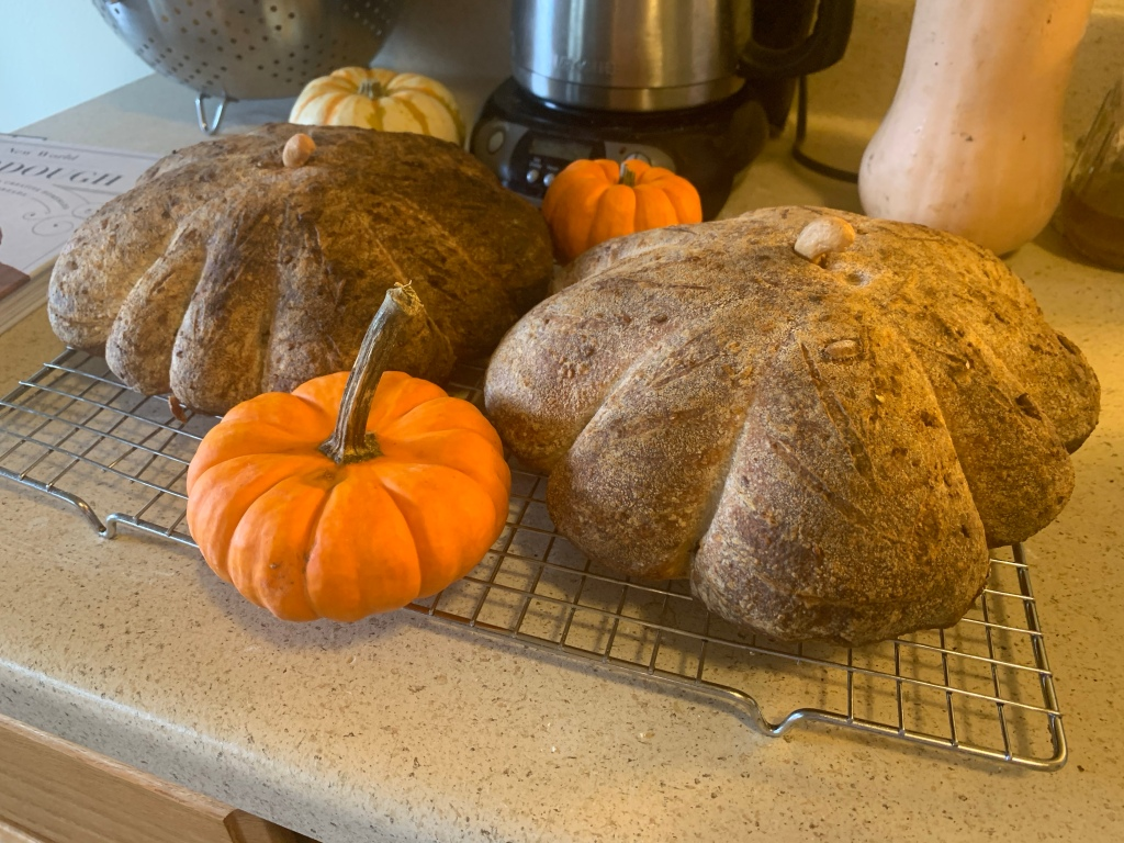 Two loaves on a cooling rack with three mini pumpkins