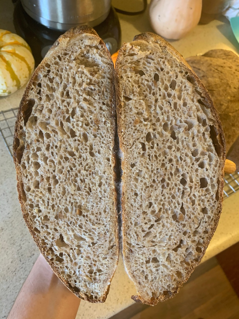 Two halves of bread, showing inner crumb