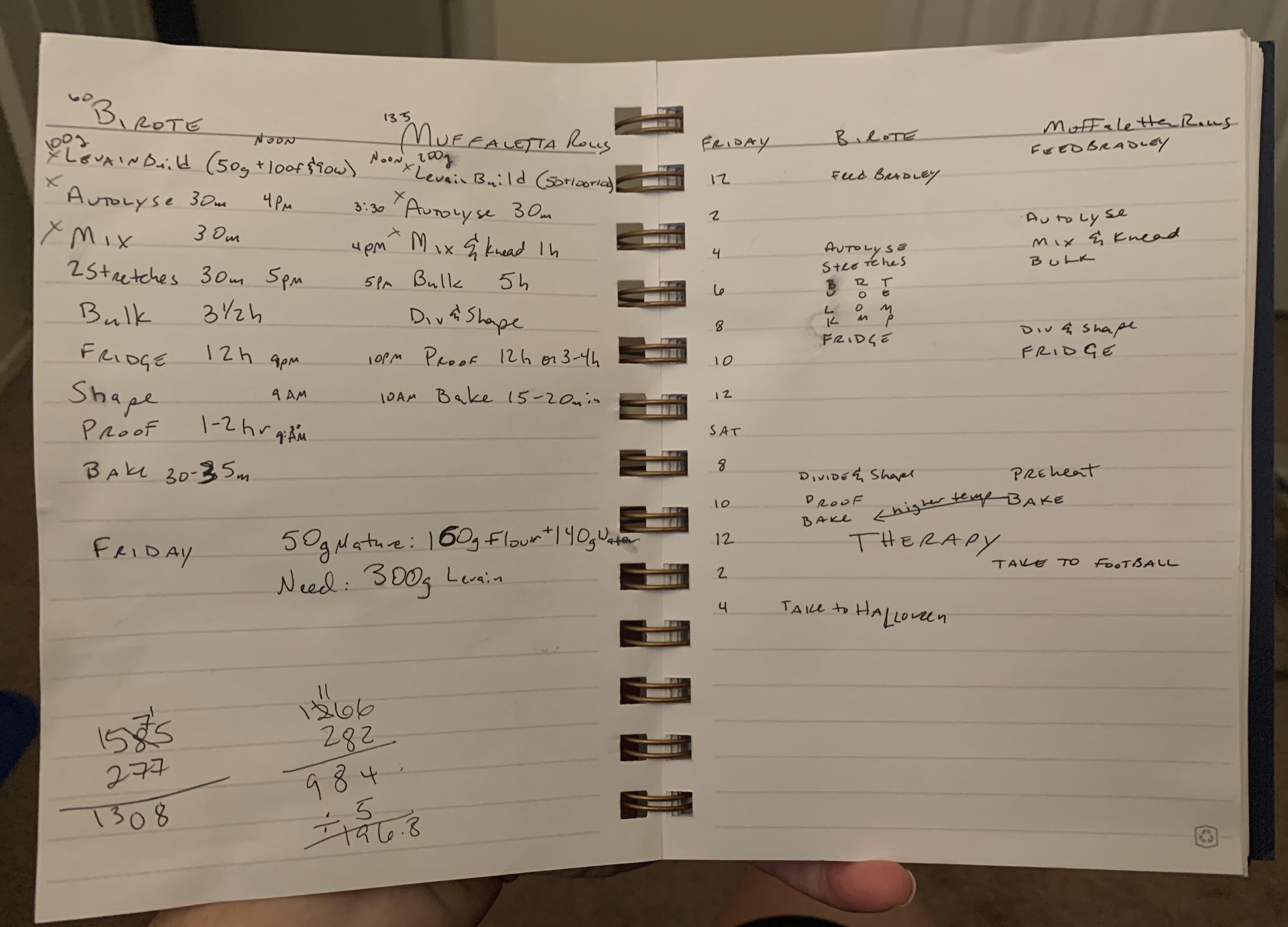Open notebook with facing pages each listing out the steps for the two breads in two different schedule styles. Various calculations, times, and events are scattered about.