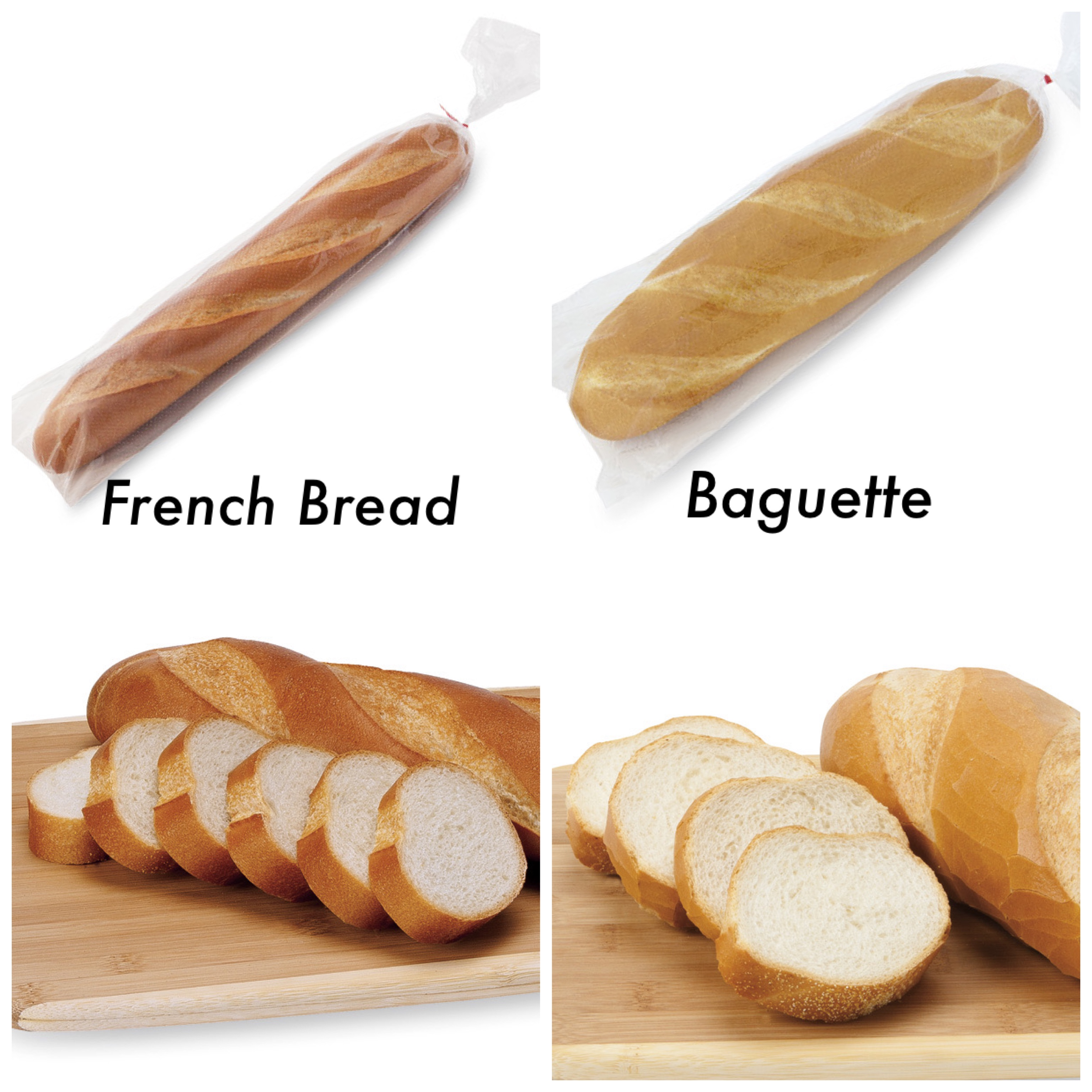 Top left: long, whole loaf in clear bag. Bottom left: slices of long loaf. Middle left: the words French Bread. Top right: Medium length loaf in clear bag. Bottom right: slices of medium loaf. Middle right: the word Baguette.