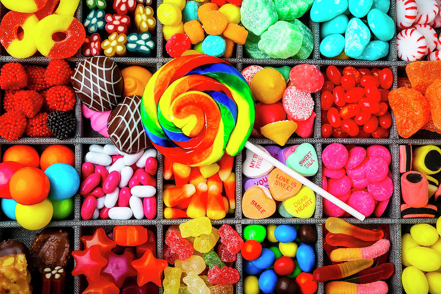 variety of colorful candies in a box
